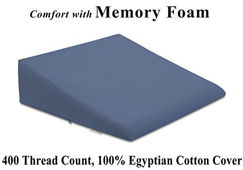 InteVision Foam Bed Wedge Pillow (26 x 25 x 7.5) - 1.5 Memory Foam Top Layer with Firm Base Foam and a 400 TC, 100% Egyptian Cotton Removable Cover - Helps Relief from Acid Reflux, Post Surgery