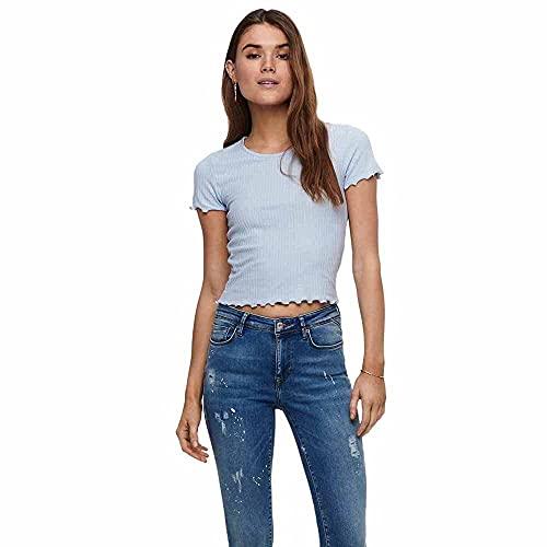 ONLY Damen ONLEMMA S/S Short TOP NOOS JRS T-Shirt, Halogen Blue, XL