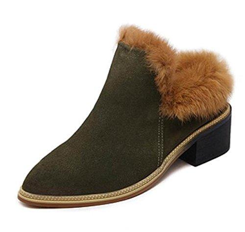 Stiefel Herbst Plüsch Schuhe Spitz Dick Mit Halbe Pantoffeln High Heel Pantoffeln Schuhe ArmyGreen