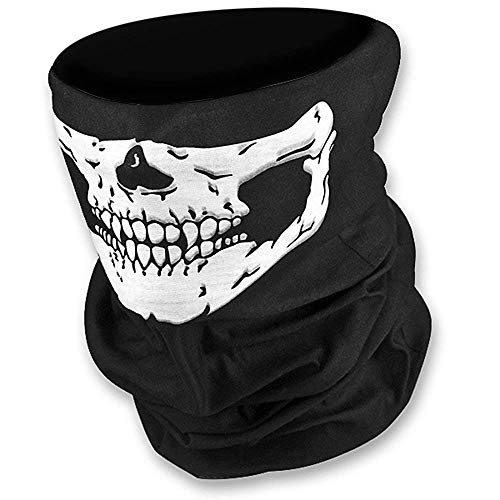 HD Stretchable Windproof Black Tribal Classic Skull Soft Polyester Half Face Mask Snowboard Snowmobile Snow Ski Facemask Headwear ()