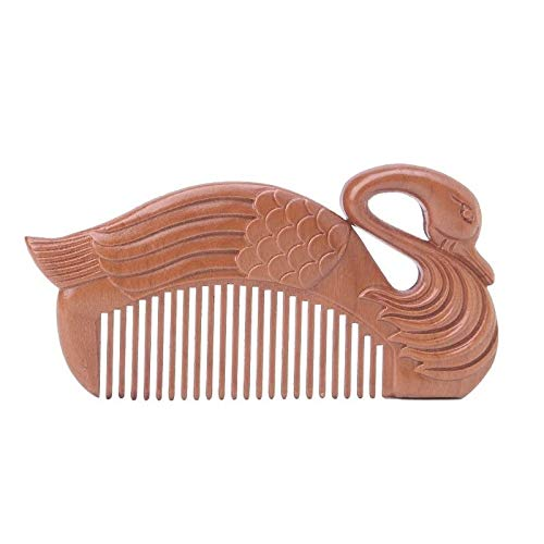(1PC Natural Peach Wood Healthy No-static Massage Hair Wooden Comb Health Care (Type -)