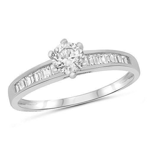 Round Channel Set Side Stones - 14k White Gold Round Solitaire with Channel Set Baguette Side Stones Engagement Ring - Size 5