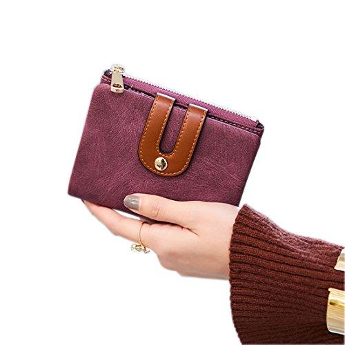 Women's Rfid Small Bifold Leather Wallet Ladies Mini Zipper Coin Purse id card Pocket,Slim Compact Thin (Purple) ()