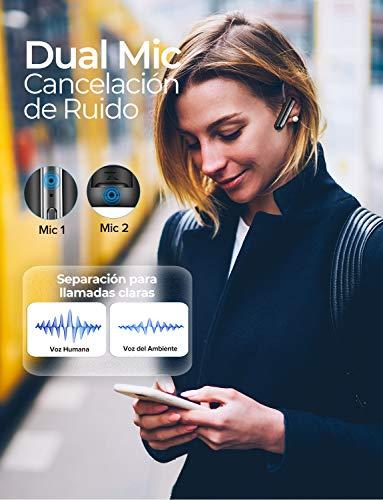 Mpow Auricular Bluetooth Telefono con Dos Micrófonos,Manos Libres Bluetooth con Cancelación de Ruido 16H de Llamda Clara,Auriculares Bluetooth Multipunto para...