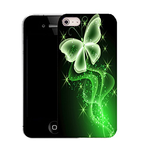 Mobile Case Mate iPhone 5c clip on Dur Coque couverture case cover avec Stylet - green sparkle butterfly Motif