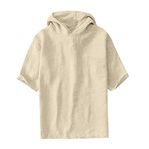 4ab04b3a1f Chenout Mens T-Shirt Top Trendy Hooded Shirt Short Sleeves Cotton Casual  Classic Blouse Sweatshirt