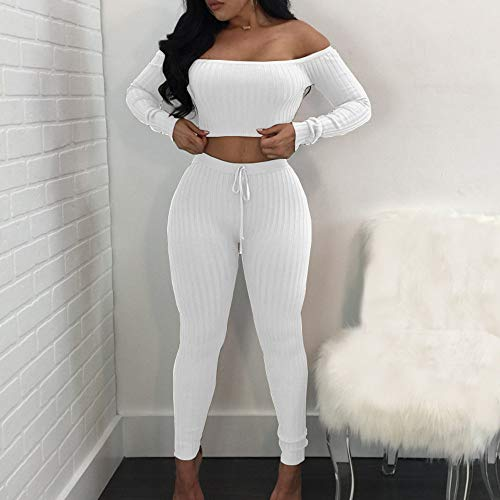 Womens Sexy 2 Piece Outfits Long Sleeve Off Shoulder Ribbed Crop Tops Belted Bodycon Stretch Long Pants Soft Breathable Summer Casual Suits ()