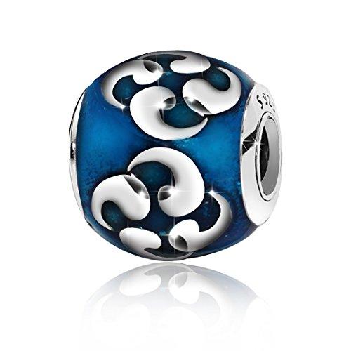 Enamel Religious Charm - Kigmay Jewelry 925 Sterling Silver Enamel Teal Blue