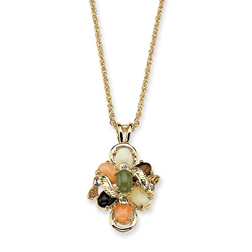 18K Yellow Gold Plated Oval Shaped Genuine Green Jade, Tiger's Eye, Opal, Coral and Onyx Pendant (27mm) with 18 inch Cha