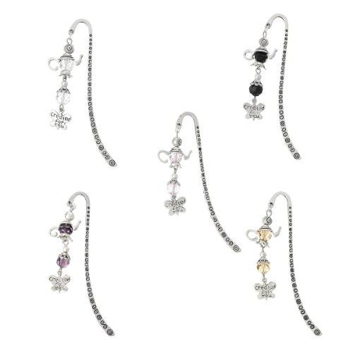 Tone Butterfly Charm - Housweety Silver Tone Mixed Charm Bookmarks W/Pot Butterfly Dangle 85mm(3 3/8Inch) 5PCs