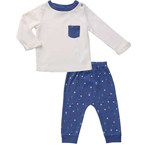 12 Month Boy Clothes 1 Year Old Boy Gifts Cream Top and Comfy Pants Set 12m Blue