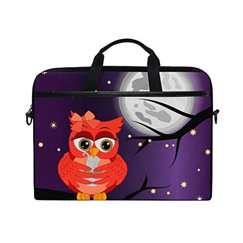 PENGTU 15-15.4 Inch Laptop Bag Good Night Card Sleeping Owls Clouds Shoulder Messenger Bags Sleeve Case Tablet Briefcase with Handle Strap