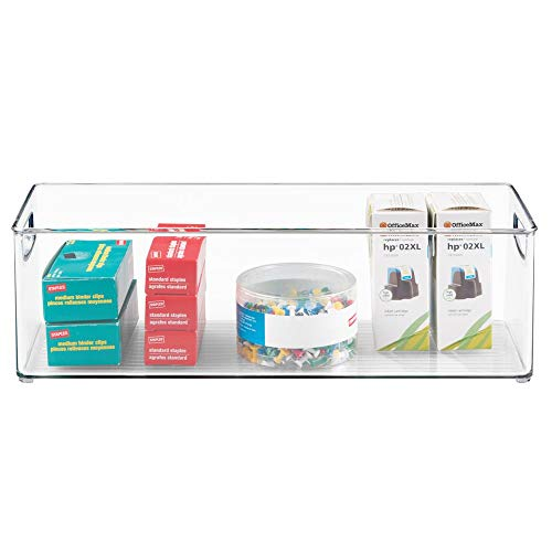 mDesign Large Stackable Plastic Storage Bin Container, Home Office Desk and Drawer Organizer Tote with Handles - Holds Gel Pens, Erasers, Tape, Pens, Pencils, Markers - 16'' Long, 8 Pack - Clear by mDesign (Image #6)