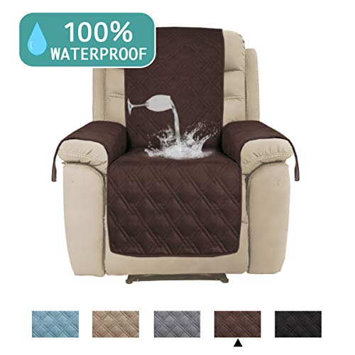 100% Water Proof Recliner Chair Covers Pet Furniture Cover for Leather Recliner Protector Slip Covers for Pets Cats Couch Covers with Non Slip Backing (Oversized Recliner: Brown) - 91