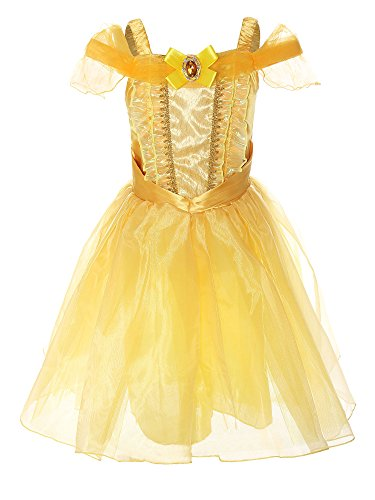 ReliBeauty Little Girl's Princess Belle Costume Dress up RB-G9169 (3T, Knee-length:yellow)