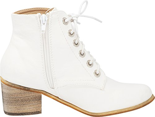 Ankle Heel Block Pu Lace Toe White Select Chunky Up Round Women's Bootie Cambridge A6q1zx