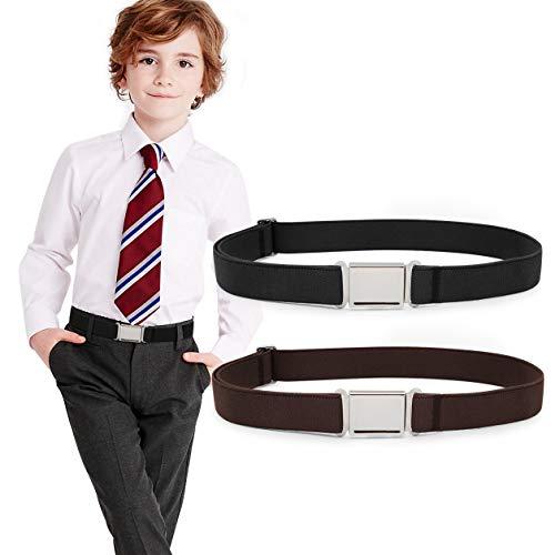 JASGOOD Kids Adjustable Magnetic Belts for Boys Girls Elastic Belt with Easy Magnetic Buckle(Black+Coffee,pant size 16-26Inch) (Kids Belts)