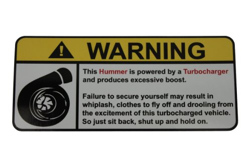 Hummer Warning Turbocharger, Warning decal, sticker (Turbocharger Vortec compare prices)