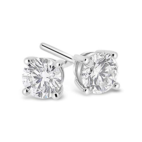 100% Pure Diamond Earrings 5/8 cttw IGI Certified Diamond Stud Earrings For Women Natural Diamond Solitaire Earrings I3-GH Quality 14K White Gold diamond -