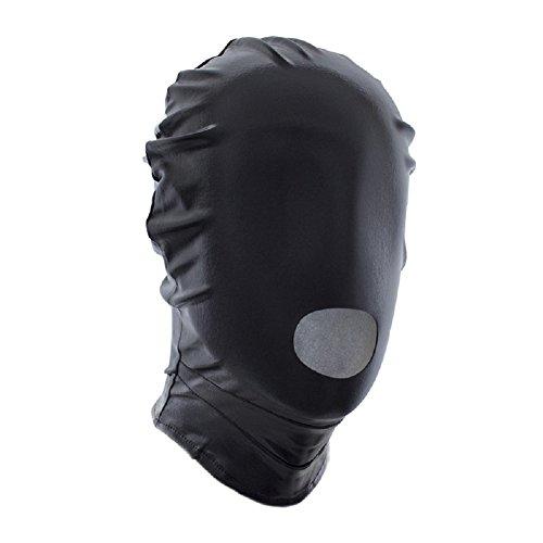 [Raycity Black Leather Costume Gimp Mask Hood Style 8] (The Gimp Costume)