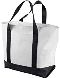 Bay View Giant Zippered Boat Tote OS WHITE/BLACK