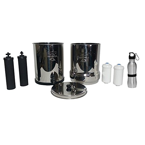 Travel Berkey Water Filter 1.5 Gallon System Bundle: 2 Black BB9 Filters, 2 PF2 Fluoride Filters, 1 Stainless Steel Water Bottle
