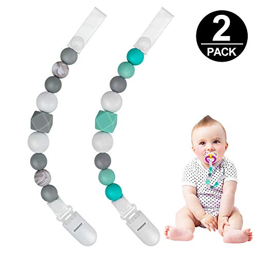 Pacifier Clips, Komake 2 in 1 Teether Pacifier Clip Chewable Silicone Teething Beads BPA Free Binky Holder for Girls, Boys, Teether Toys, Soothie, Mam, Drool Bibs, 2 Pack (Green, Gray) ()