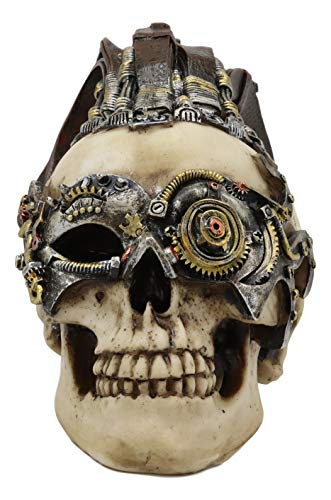 Ebros Long Hair Mohawk Steampunk Cyborg Robot Skull Warrior Figurine with Painted Gearwork Bullseye Eye Scope 7.25'Long Skeleton Head Statue for Halloween Day of The Dead Vintage Sci Fi Macabre Decor -