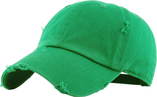 KBETHOS Vintage Washed Distressed Cotton Dad Hat Baseball Cap Adjustable Polo Trucker Unisex Style Headwear (Vintage) Kelly Green Adjustable ()