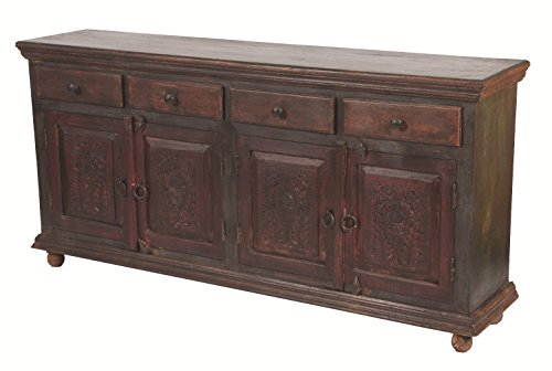 Moti Furniture Arvada Buffet with 4-Drawer and 4-Carved Door, 35 by 72 by 16-Inch