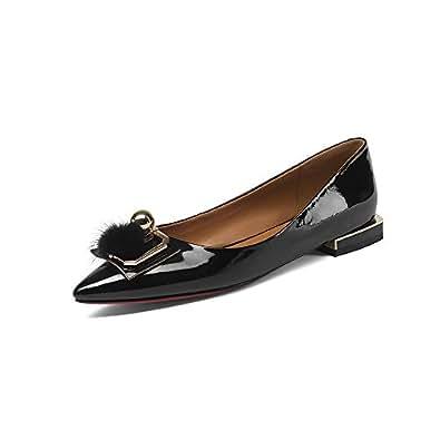 Nine Seven Women's Leather Pointtoe Flat Heel Pump 4.5 B(M) US Black