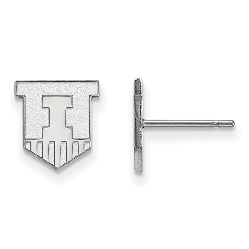 925 Sterling Silver Officially Licensed University College of Illinois Mini Small Post Earrings (9 mm x 9 mm) by Mia's Collection