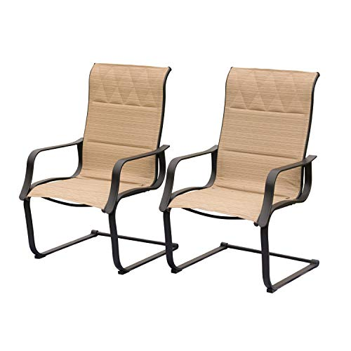 LOKATSE HOME Outdoor Spring Chairs for Patio Porch Sling Dinning Chair Furniture Set of 2 with Arms, Beige
