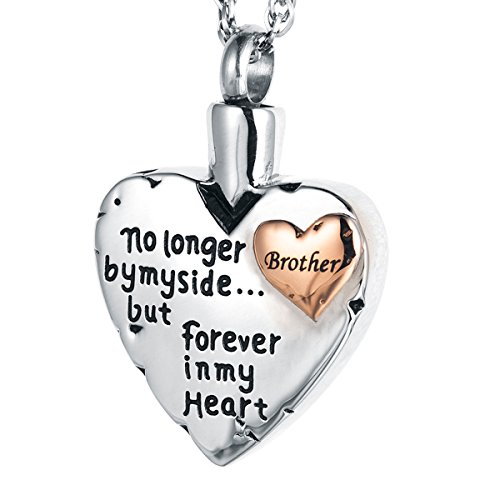 IMEIM Heart Cremation Urn Commemorative Necklace Ashes Screw Locket Stainless Steel Solid Meaningful Pendant Store Love Closed to My Heart Be Together Forever (Brother) (Stainless Pendant Steel Solid)