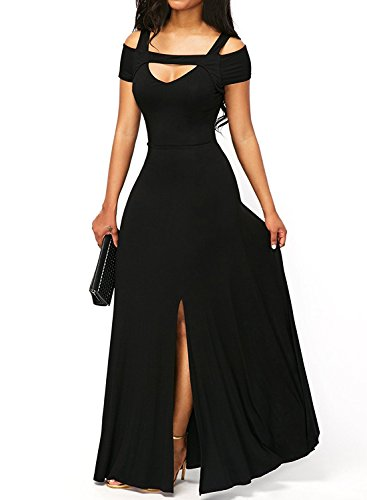 k Cold Shoulder Front Slit Flare Maxi Evening Dress Black Large (Black Zipper Dress)
