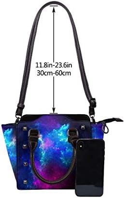 Beau Sac fourre-Tout à Clous Galaxy Space Fashion pour Femmes en Cuir PU Rivet Sac à bandoulière Sac à Main