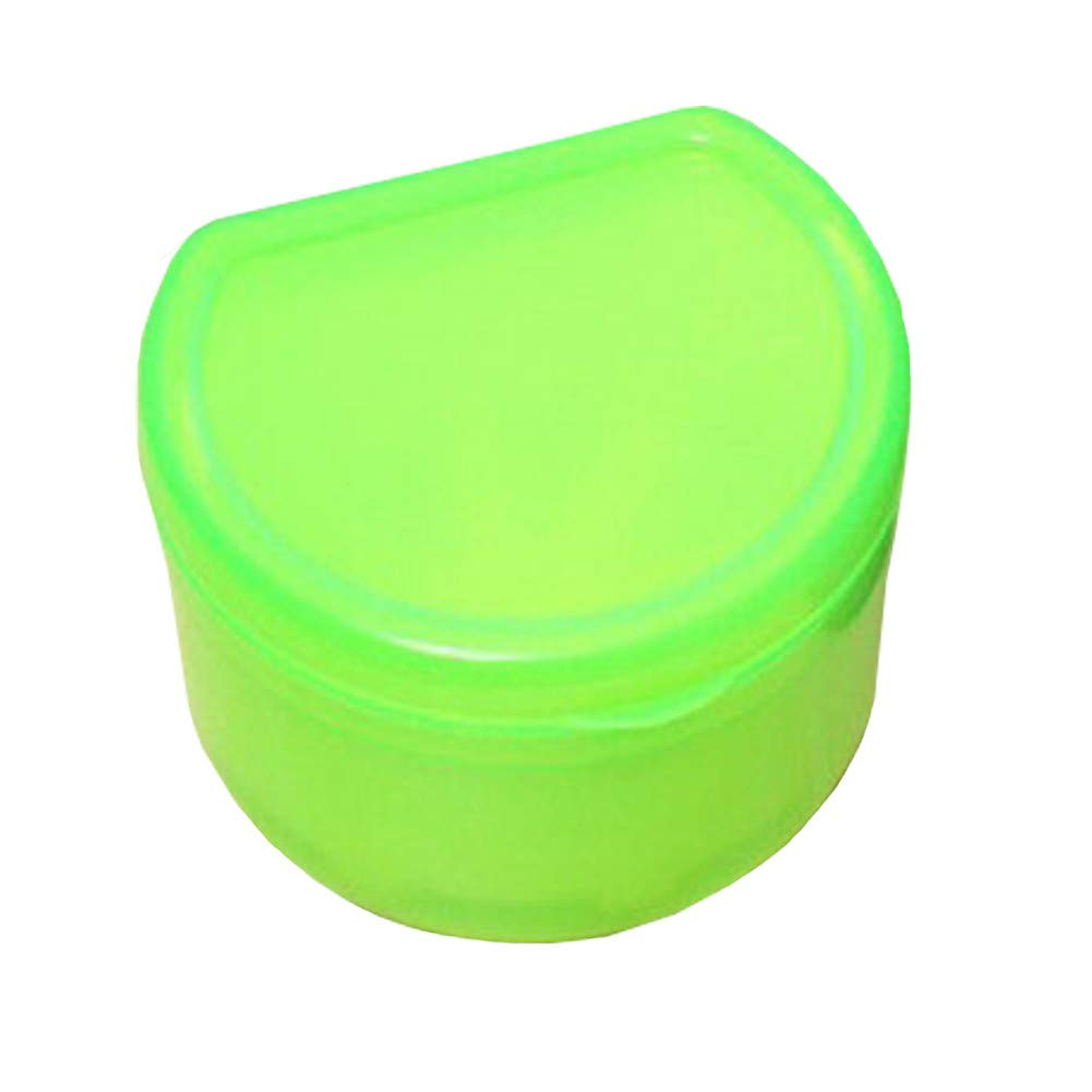 Orthodontic Mouth Guard Denture Retainer Box Dental Storage Container Portable,LightGreen,3Pcs