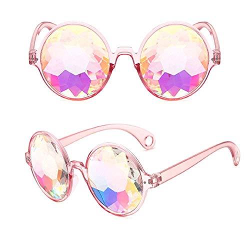 Viki - Liki Adults Party Round Kaleidoscope Glasses Christmas Wedding Birthday Party Sunglasses Festivals Kaleidoscope Eyewear for Raves - Goggles Rainbow Prism Diffraction Crystal Lenses