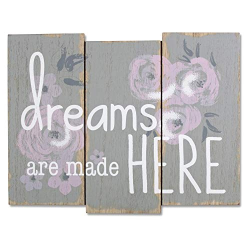 - Wendy Bellissimo Wood Wall Art Wall Plaque from The Savannah Collection - Dreams are Made Here in Floral & Grey