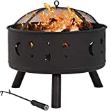 BestMassage 24' Fire Pit Portable Outdoor Firepit Wood Fireplace...