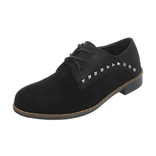 Ital-Design Women's Loafer Flats Block Heel Lace-UPS at Black 4396 rUmwyrOT