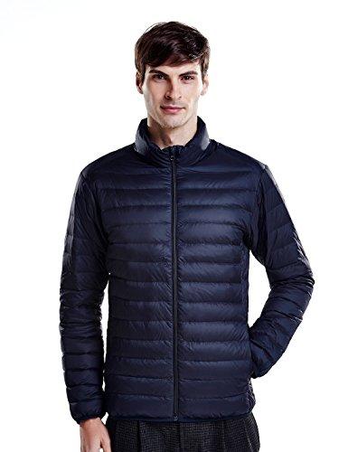 Puredown Weatherproof Men's Packable Down Puffer Jacket, Navy