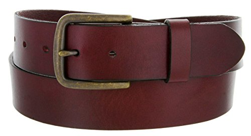 Burgundy Full Grain Genuine Work Jean Casual Leather Belt With Black Solid (36, Burgundy W Brass Finish Buckle) ()
