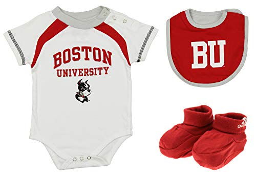 adidas OuterStuff NCAA Newborn (3M-9M) Boston University Terriers Bib and Bootie Set, Red (0-3) Months