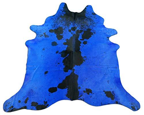 Dyed Blue Cowhide Rug Size: 7' X 6.5' Salt & Pepper Dyed Blue Rug C-194 ()
