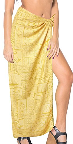 "Price comparison product image LA LEELA Women's Sarong Swimwear Cover Up Summer Beach Wrap 78""x39"" Yellow_B450"