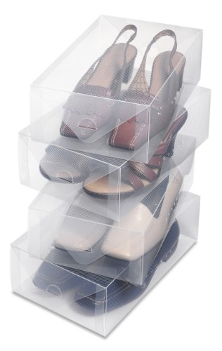 Whitmor Clear Vue Shoe Box - Heavy Duty Stackable Shoe Storage - (Set of 4)