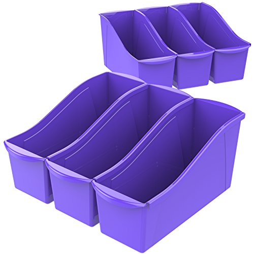 - Storex Large Book Bin with Label Pockets, 14.3 x 5.3 x 7 Inches, Purple, 6-Pack (71117U06C)