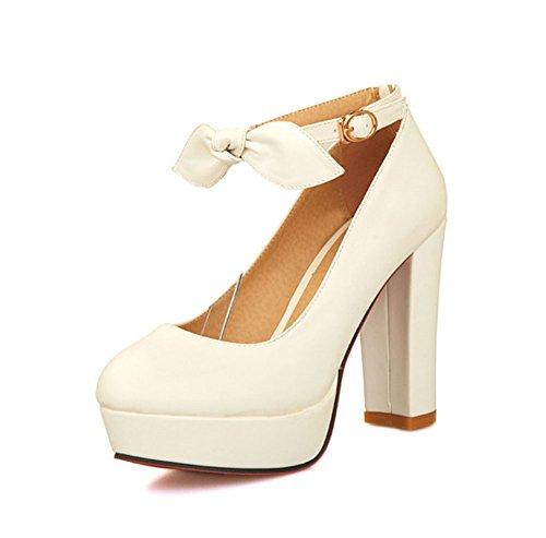 AIsun Womens Sweet Bowknot Ankle Strap Platform Dress Pumps Shoes White elbAKiNAs