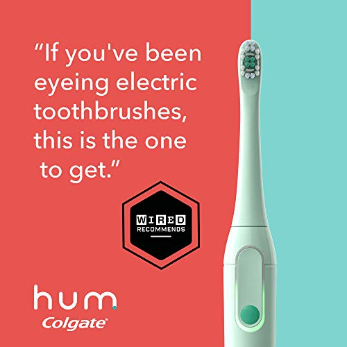 hum by Colgate Smart Electric Toothbrush Kit, Rechargeable Sonic Toothbrush with Travel Case and Replacement Head, Teal